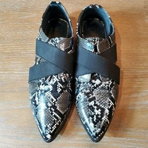 ASOS patent leather snake print pointed loafers